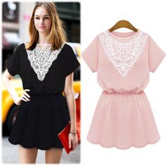 Lace Stitching Short-sleeved Dress Big Yards Long Section Was Thin Waist Skirt Bottoming on Luulla