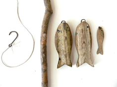 vintage rustic fishing game set with handcarved by snugsnuggery, $9.99