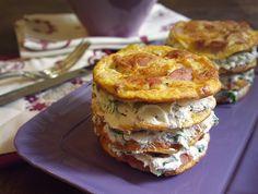 Lasagnetta+di+frittatine+con+farcia+di+philadelphia+e+rucola