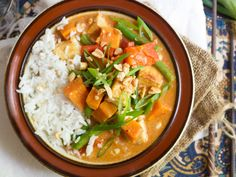 Crispy pan-fried tofu, veggies and sweet potato chunks are simmered in a peanutty Thai-spiced coconut curry sauce to create this vegan massaman curry.