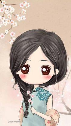 girl, wallpaper, and cute image Chat Kawaii, Kawaii Chibi, Cute Chibi, Kawaii Cute, Anime Chibi, Cartoon Kunst, Cartoon Art, Cute Girl Wallpaper, Wallpaper Art