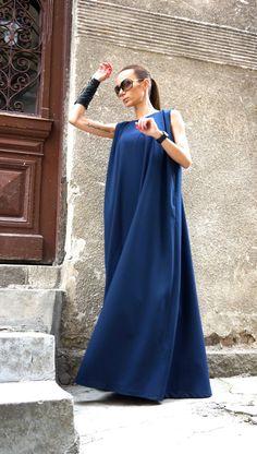 NUEVA primavera 2016 Maxi vestido / Kaftan azul marino por Aakasha
