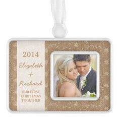 Newlywed First Christmas Photo Rustic Burlap Lace Silver Plated Framed Ornament
