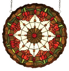 18 Inch W X 18 Inch H Colonial Tulip Medallion Stained Glass Window