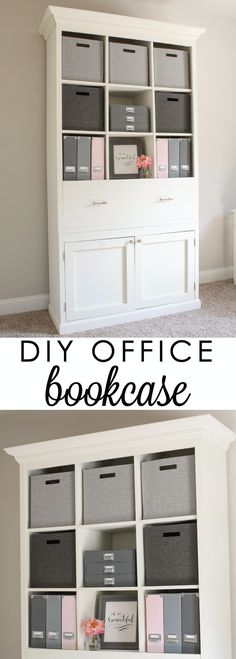 DIY Office Bookcase Cabinet. Perfect for pretty office organization and decor! Click for free build plans!