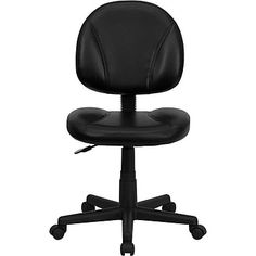 Flash Furniture Ergonomic Leather Soft Mid-Back Task Chair, Armless, Black