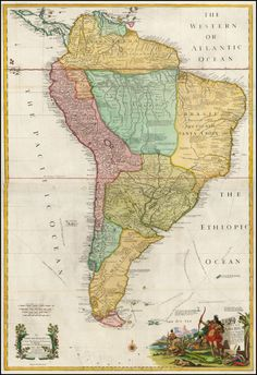 Antique map of South America, 1710