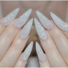 Cute!!!! White Sparkly glittery stilleto nails
