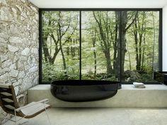 Modern and minimalist hanging black bathrub