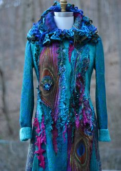 Peacock long sweater COAT,  eco Fantasy fashion in size Medium/Large, Boho refashioned up cycled outerwear. Ready to ship
