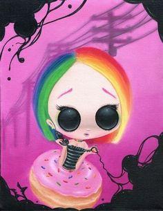 SUGAR FUELED POP LOWBROW RAINBOW GIRL CREEPY CUTE BIG EYE ART PRINT