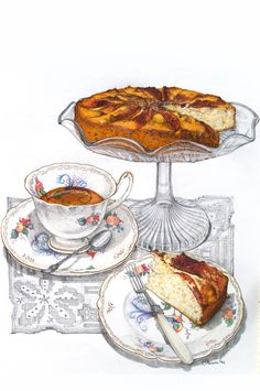 The Afternoon Tea Scene Series - Alexandra Nea Cake Drawing, Food Drawing, Painting & Drawing, Illustration Mode, Food Illustrations, Watercolor Illustration, Illustration Pictures, Tee Kunst, Apple Tea Cake
