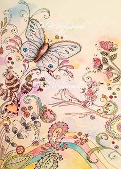 Doodle Art No.1 - Watercolor - Digital Print