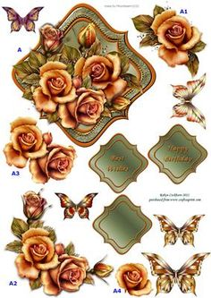 Golden Roses Decoupage Topper on Craftsuprint designed by Robyn Cockburn - A multi-layered decoupage topper with gold roses and butterflies. Suitable for birthdays, Mother's Day, anniversary, weddings, etc. - Now available for download!
