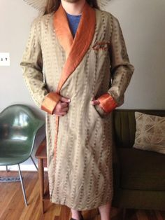 Scrooge's Robe  Vintage-Robe-GOLD-Brocade-Satin-Smoking-Coat-Jacket-