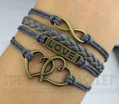 Charms Bangle Infinity Bronze Karma Love & by themagicbracelet, $4.99