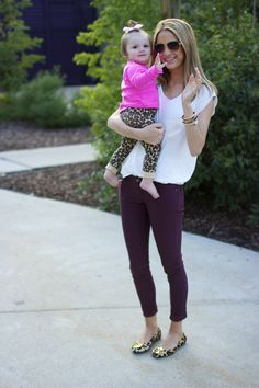 Plum skinnies with leopard flats. Perfect for fall. Gotta get me a pair pants just like these :) my fave color!