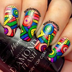 These nails are funky fresh by MonsterMommm. Get Nails, Love Nails, How To Do Nails, Funky Nail Art, Funky Nails, Colorful Nails, Skull Nail Art, Skull Nails, Fingernail Designs