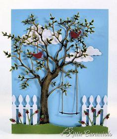 Grand Oak Tree - KittieKraft--Cricut tree with swing and picket fence