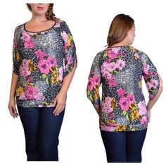 """Floral top (2x) Floral top (2x) Length: 31""""  Bust: 41"""" Materials: 92% rayon/ 8% spandex  NWOT. Brand new without tags. Lightweight and slightly banded at the bottom. The sleeves are elbow length. Very soft! Semi sheer  Availability- 2 PLEASE do not purchase this listing. Price is firm unless bundled. No trades2L2 Boutique Tops"""