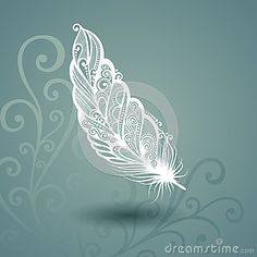 Caliber With The Pairless Feather In The Floral Background Vector Illustration - Illustration of object, beautiful: 40465518 - Caliber with the feather without pair with the flowery background - Henna Feather, White Feather Tattoos, Mandala Feather, Feather Art, Flower Mandala, Mandala Art, Feather Tattoo Design, Alas Tattoo, Tattoo L