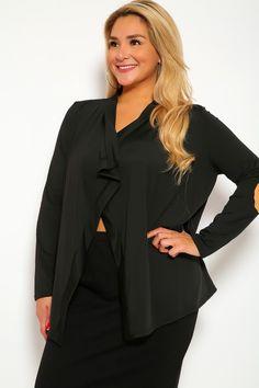 01ec2e6a848d7 Sexy Black Open Face Long Sleeve Flowy Front Plus Size Jacket
