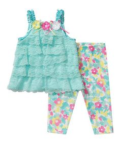 Look at this #zulilyfind! Youngland Mint Daisy Ruffle Tunic & Leggings - Infant by Youngland #zulilyfinds