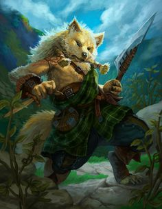 Canid Highlander by chichapie fox wolf dog werewolf humanoid anthro Celtic Scotland fighter hunter barbarian ranger armor clothes clothing fashion player character npc | Create your own roleplaying game material w/ RPG Bard: www.rpgbard.com | Writing inspiration for Dungeons and Dragons DND D&D Pathfinder PFRPG Warhammer 40k Star Wars Shadowrun Call of Cthulhu Lord of the Rings LoTR + d20 fantasy science fiction scifi horror design | Not Trusty Sword art: click artwork for source