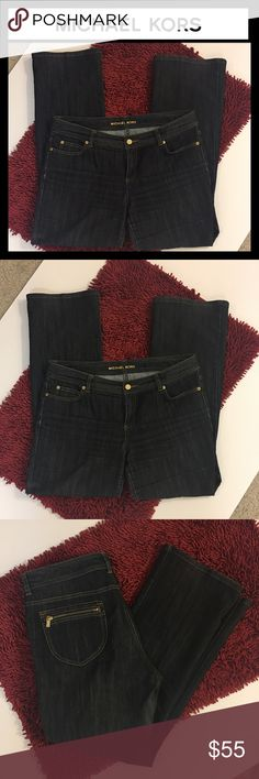 "Michael Kors dark wash boot cut jeans Pre-loved but in excellent condition absolutely no flaws whatsoever Michael Kors dark wash bootleg jeans - inseam 27"" size 12 Michael Kors Jeans Boot Cut"