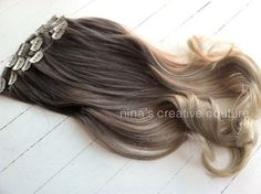 Ash Blonde Ombre Hair Ombre Clip In Hair by NinasCreativeCouture