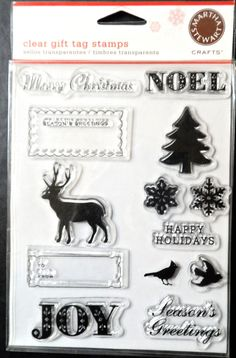 $13.98/Martha Stewart Clear Rubber Stamps 13 piece Christmas seasonal holiday gift tags, NEW https://www.etsy.com/shop/ShellysSweetFinds