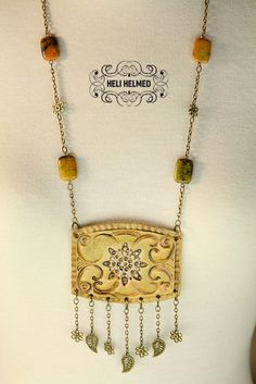 Ceramic Ethnic Long Pottery Necklace Earrings Set by HeliHelmed, $36.00