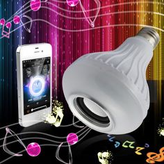 LED Lamp E27 Bulb Bombillas Ampoule Bluetooth speaker Smart Colorful music playing Lights IR remote Control Speaker 4 ohm 5W