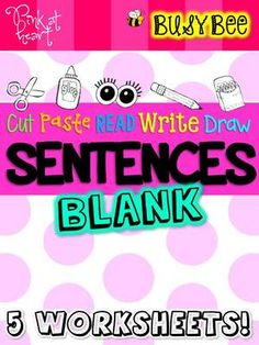 BusyBee Sentence Worksheets BLANK from kac2877 from kac2877 on TeachersNotebook.com (10 pages)  - Print, Write & Use for easy, make-you-own 3, 4, 5, 6 and 7-word sentence worksheets!
