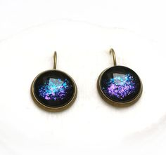 Blue Purple Earrings Galaxy earrings Dangle earrings Bronze earrings Geekery earrings Northern lights, Aurora borealis Interstellar