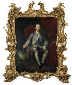 Portrait of George III as Prince of Wales, after George Knapton, in carved giltwood frame attributed to Paul Petit, circa Museum Number Rococo Style, Art Uk, Victoria And Albert Museum, Prince Of Wales, Historical Pictures, 18th Century, Picture Frames, Antiques, Portraits