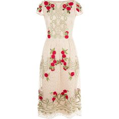 Temperley London Antila Dress (58 090 UAH) ❤ liked on Polyvore featuring dresses, pink satin dress, embroidery dresses, pink cocktail dress, embroidered flower dress and cocktail dresses