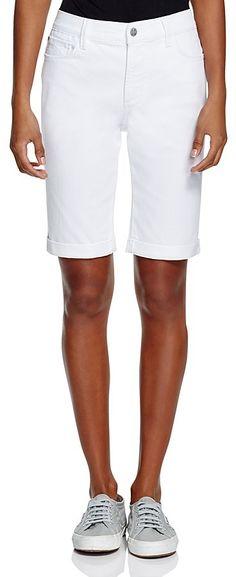 NYDJ Briella Roll Cuff Bermuda Shorts in Optic White