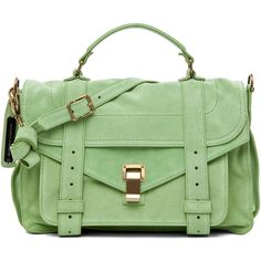 Proenza Schouler PS1 Medium Suede in Jade ($1,695) ❤ liked on Polyvore