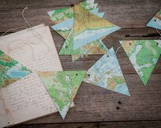 WORLD MAP paper bunting vintage atlas map bunting party decoration map decor travel decor. $25.95, via Etsy.