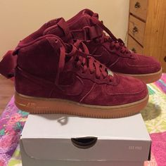 Fitness Women's Clothes - Suede Burgundy Air Force Ones//// Unisex High MAKE OFFERS Nike Shoes Athletic Shoes - nike womens clothing Nike Free Shoes, Nike Shoes Outlet, Running Shoes Nike, Nike Free Runners, Cute Shoes, Me Too Shoes, Adidas Cap, Adidas Originals, Tenis Vans