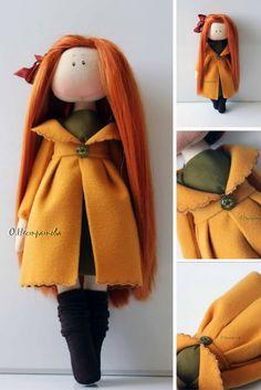 Autumn doll Interior doll Handmade doll Soft doll Textile doll Art doll Cloth doll yellow doll Tilda doll Fabric doll
