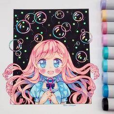 Una oscura noche donde las estrellas iluminan las burbujas cargadas de color. #copicmarker #copicsketch #copicmultiliner #estrellasquecompréenpatronato #bubbles #stars #colorfull #kawaii #cute #pinkhair