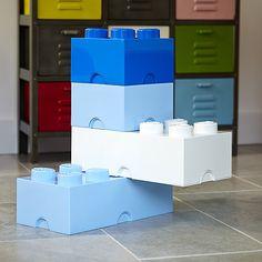 Boxed set of Giant stackable LEGO storage bricks in blues and whites to save you shoppi. Lego Storage Boxes, Lego Storage Brick, Plastic Box Storage, Ikea Storage, Cube Storage, Lego Brick, Storage Baskets, Large Lego Blocks, Childrens Toy Storage