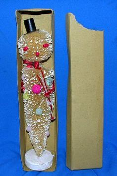 """RARE Vtg 1950's Japan LG 14 5"""" Xmas Bottle Brush Snowman in Original Box"""