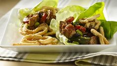 Chicken Lettuce Wraps with Sesame Crescent Noodles using Green Giant veggies. Crunchy noodles made from crescents is the fun part of veggie-packed chicken lettuce wraps. Pastas Recipes, Entree Recipes, Appetizer Recipes, Beef Recipes, Chicken Recipes, Dinner Recipes, Cooking Recipes, Healthy Recipes, Jalapeno Recipes