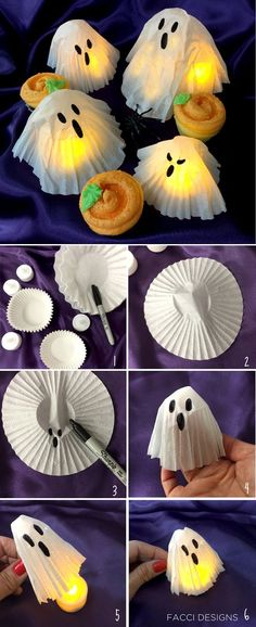 The easiest Halloween craft using cupcake liners and coffee filters. Facci Designs #ad