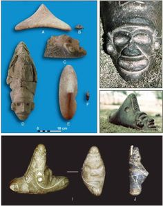 Zemis from the Lesserandthe Greater Antilles.(A  – F) All from Carriacou (A andE as wellas B andFare different viewsof the same figures (photos by Quetta Kaye); (G – H) twoviews of an artifact from Puerto Rico in the W. Geigel collection; (I and J)University of Puerto Rico collections (all courtesy of José Oliver)