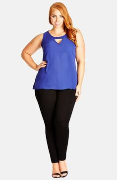 City Chic 'Peekaboo' Sleeveless Top (Plus Size) available at #Nordstrom