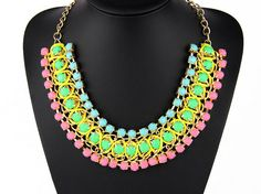 Choker Statement Necklace Colorful Jewelry Chain Bib by eBijoux, $10.99